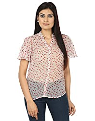 Coash Women White & Red Printed Women Top with Belly Sleeves