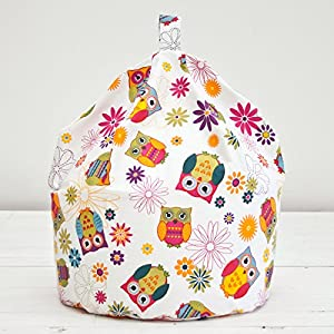 Owl White Pink Multi Floral Kids Childrens Cotton Beanbag Bean Bag With Filling by Textile Warehouse