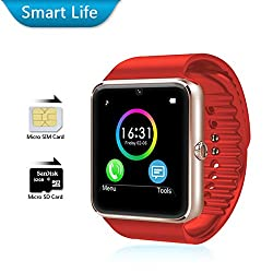 LIFE LIKE GT08 BLUETOOTH SMARTWATCH WITH SIM & SD CARD SUPPORT - RED
