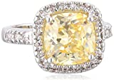 """CZ by Kenneth Jay Lane """"Classic"""" Canary Yellow Cushion Pave Cubic Zirconia Border Ring, Size 7"""