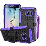 Samsung Galaxy S6 Edge Case, Sophia Shop Samsung Galaxy S VI 6 Edge (2015 Realease) Soft Inner+Hard Armor Shell 2 in 1 Tough Protective Cover Skin Case, with [Built-in Kickstand][Shock Proof][Anti-Slip][Scratch Resistant] Function Heavy Duty Durable Tough High Impact Hybrid Black Hard Shell with Soft Multi-color Option TPU Cover Rugged Case for Samsung Galaxy S6 Edge Carrier Compatibility Verizon, AT&T, T-Mobile, Sprint, International Carriers. (Not Compatible with Galaxy S6.) (Purple)