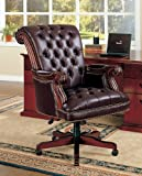 Coaster Traditional Executive Leather Office Chair, Nail head Trim Tufted Back