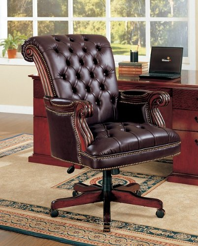 Traditional Nailhead Trim Tufted Back Executive Leather Office Chair