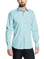 Mattschwarz Camisa Hombre Modern Fit (Turquesa)