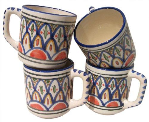 Le Souk Ceramique Coffee Mugs, Set Of 4, Tabarka Design
