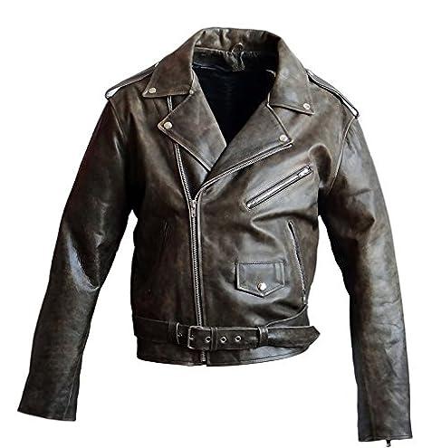 Brando veste en cuir style motard en cuir de bœuf