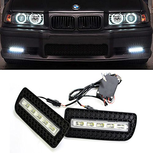 Ijdmtoy 5-Led High Power Led Daytime Running Lights Kit For 1992-1998 Bmw E36 M3 Or 3-Series With M-Power Bumper Only