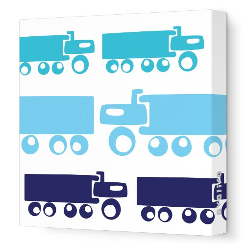 "Avalisa Stretched Canvas Nursery Wall Art, Truck, Blue Hue, 12"" x 12"""