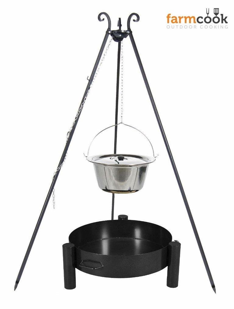 Dreibein Grill VIKING Höhe 180cm + Topf 8 Liter aus Edelstahl + Feuerschale Pan33 Durchmesser 60cm bestellen