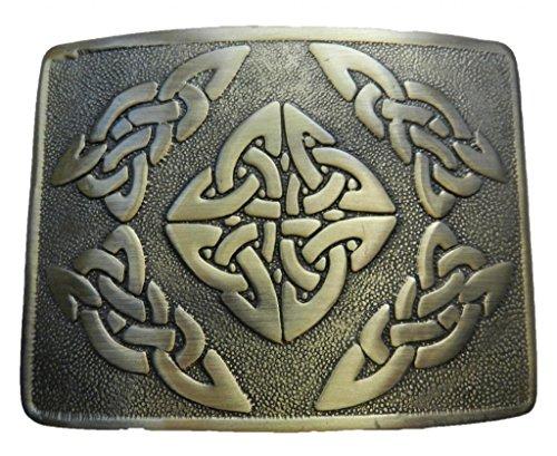Scottish Kilt belt buckle #3 Antiqued Brass Finish