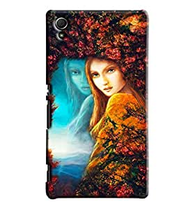 Blue Throat Girl Painting Hard Plastic Printed Back Cover/Case For Sony Xperia Z4