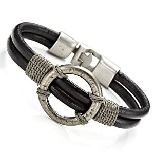 Stunning Mens Black Roman Style Leather Steel Bracelet Cuff