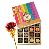 Valentine Chocholik's Belgium Chocolates - Colorful Truffles Treat With 24k Red Gold Rose