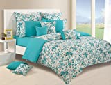 Swayam Shades of Paradise Printed Cotton Double Duvet Cover - Turquoise (TSR02-2711)