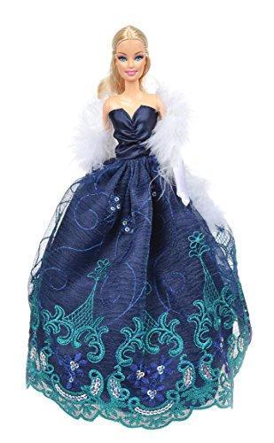 Banana Kong Charming Blue Doll's Party Dress + Feather Shawl + Gloves