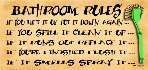 Wooden Funny Sign Wall Plaque Bathroom Rules