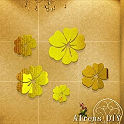Alrens_DIY(TM)20 pcs Petals=5 Flowers Crystal DIY Mirror Effect Reflective 3D Wall Stickers Home Decoration Living Room Bedroom Bathroom Decor Mural Decal adesivo de parede Removable Kid\'s Room Design Art (Gold)