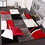 Designer Teppich mit Konturenschnitt Karo Muster Rot Schwarz, Grösse:120x170 cm