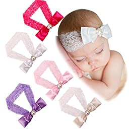 ZHW Baby Girl\'s Flower Headband Hairband Bow Big Flower (5 pack Bowknot)
