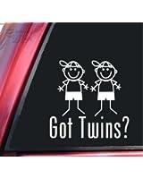 Got Twins? Boy/Boy White Vinyl Decal Sticker 6 inch size by ShadowMajik