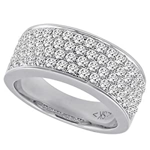 14k 1.20 Dwt Diamond White Gold M. Pave Band Ring - JewelryWeb