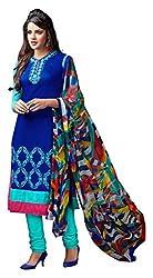 Craftliva Blue & Sky Embroidery Chanderi Cotton Dress Material