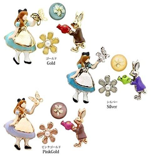 Orecchini fantasia Alice nel paese delle meraviglie Serie combinazione set di orecchini, oro giallo, colore: silver