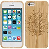 kwmobile® Natural bamboo case for the Apple iPhone 5 / 5S Tree design in Light brown