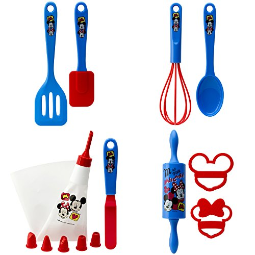 Zak Designs Mickey Mouse 15 Piece Baking Set For Kids, Decorated