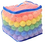 """Non-Toxic 200 """"Phthalate Free"""" 6.5cm Crush Proof Non-Recycled Quality Pit Balls w/ Mesh Bag & Test Reports: 6 Colors - Red, Orange, Yellow, Green, Blue, and Purple"""