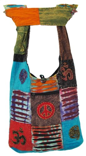 Shangri-La Nook Hippie Cotton Crossbody Gypsy Bag Handmade Nepal Peace Om Spiral