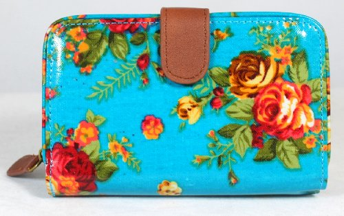 Laura Floral Wallet / Purse in Tuquoise -- SwankySwans