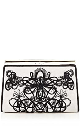Graphic lace embroidery clutch