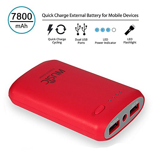 Wusic® 7800Mah Portable External Battery Charger Dual Usb (2.1A / 1.5A Output) Power Bank With Strong Led Light For Iphone Ipad Samsung Galaxy Android Phone Smartphone Tablets Pc Bluetooth Speaker - Pink