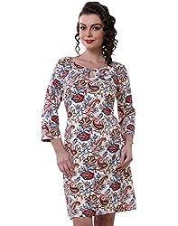 Purys Women's Bodycon Dress (E-150692SP7241_Ivory Multi_L)