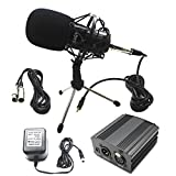 LEAGY (TM) Home Recording Sound Studio Dynamic Mic + Shock Mount L-58 Condenser Microphone / Pro Audio Condenser Microphone Studio Pickup Recording MIC w/ Shockmount / Silver Microphones Yeti Microphone - Black + 1- Channel 48V Phantom Power Supply with Adapter for Any Condenser Microphone Music Recording Equipment + XLR 3 Pin Microphone Cable + Mini Desktop Tripod