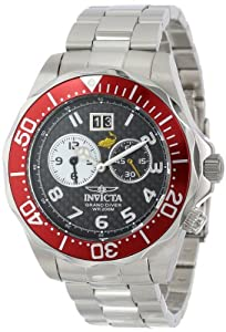 Invicta Men's 14444 Pro Diver Black Carbon Fiber Dial Stainless Steel Watch