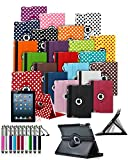 Amazon Kindle Fire HD 7 inch 2012 Model Tablet 360° Rotating Swivel Executive PU Leather Folio Case Stand Cover with Retractable Stylus Touch Pen and Screen Protector - Red with White Polkadot