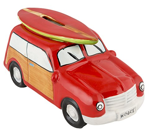 Ceramic Woody Coin Piggy Bank with Surfboard Red