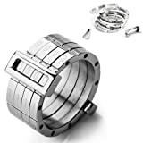 Justeel Men Stainless Steel Ring Band Silver Password Combined Size Z+1(with Gift Bag) (Width: 0.51