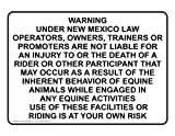 ComplianceSigns.com Aluminum New Mexico Horseback Riding Sign, 10 x 7 with English, White