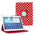 KIQ (TM) Red Polka Dots Design 360 Rotating Folio PU Leather Case Cover Stand Skin for Samsung Galaxy Galaxy Tab 3 10.1 Inch P5200