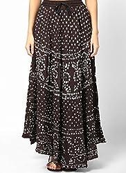 Femezone Bandhej cotton Skirt black, free size