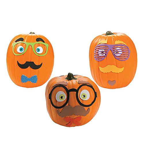 Funny Foam Mustache Pumpkin Decorating Craft Kit (Makes 12) - Halloween Decor