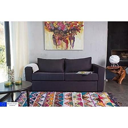 Presto sofá derecho convertible-3 plazas-188 x 85 x 91 cm, diseño de gamuza, color negro