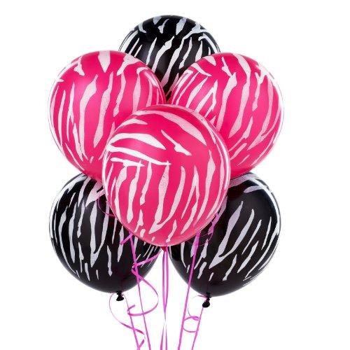 "Zebra 12"" Pink/Black Balloons 20 per pack"