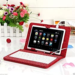 Hooshion® Universal 7 Inch USB Keyboard Case Cover Stand for 7 Inch Android Windows Tablet Pc+Mini 5pin OTG Cable+Micro OTG Adapter (Red Cartoon)