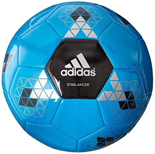 adidas Performance Starlancer V Soccer Ball, Solar Blue/Black/Metallic Silver, 5