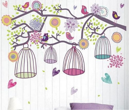 Home Decor Decals Poster House Wall Stickers Quotes Removable Vinyl Large Wall Sticker For Kids Rooms Stickers Candy Color Birds W-329 front-652095