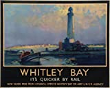 Vintage Travel WHITLEY BAY, England, Railway Art 250gsm ART CARD Gloss A3 Reproduction Poster